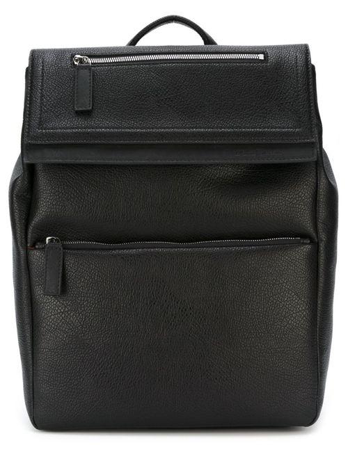 Salvatore Ferragamo | Мужской Чёрный Рюкзак С Откидным Клапаном
