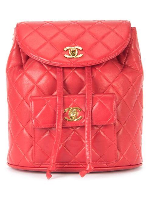 Chanel Vintage | Женский Красный Стеганый Рюкзак С Цепочной Отделкой