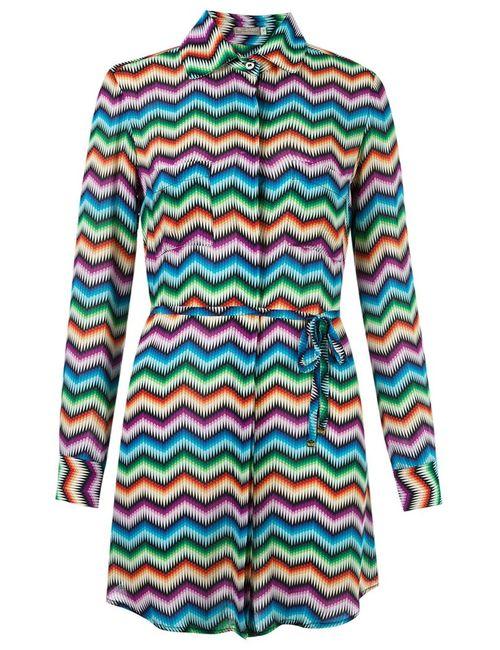 BLUE MAN | Женское Многоцветное Платье-Рубашка С Узором Шеврон