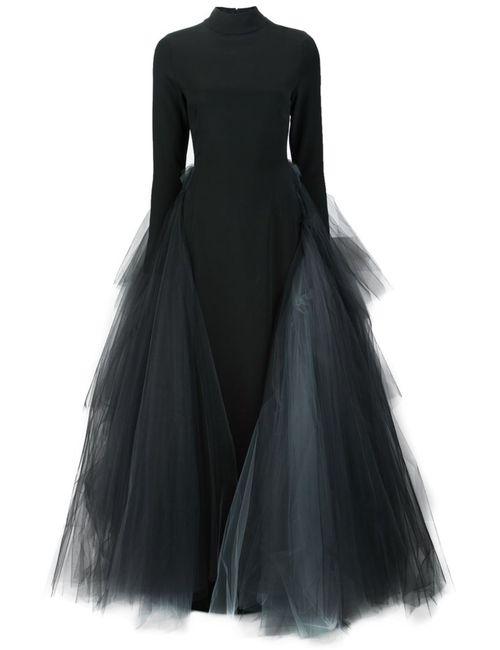 CHRISTIAN SIRIANO   Женское Чёрное Вечернее Платье С Тюлем