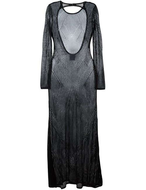 Hervé Léger | Женское Чёрное Длинное Ажурное Платье