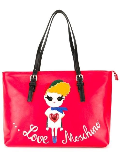 Love Moschino | Женская Красная Сумка-Тоут С Принтом Девушки