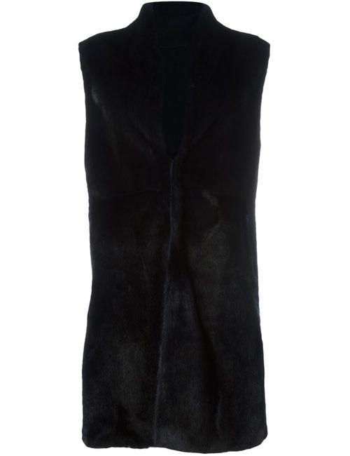 Liska | Женская Чёрная Шуба Без Рукавов Из Меха Норки