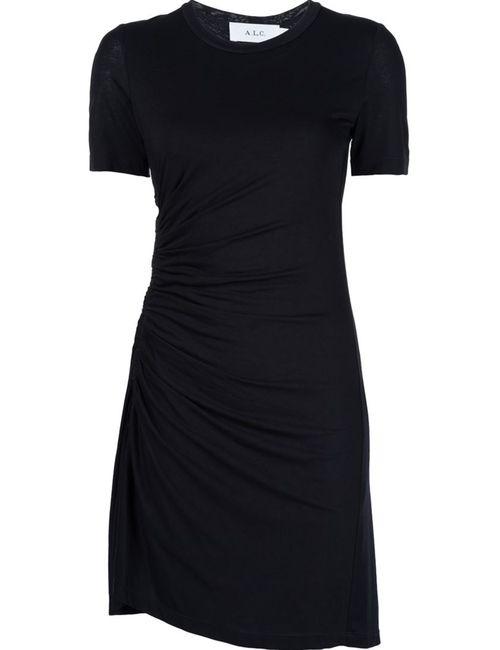 A.L.C. | Женское Чёрное Платье С Присборенной Отделкой