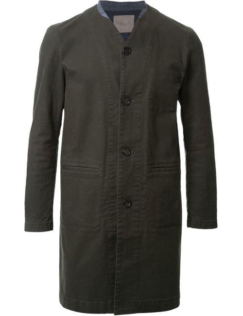 Factotum | Мужское Зелёное Пальто С V-Образным Вырезом