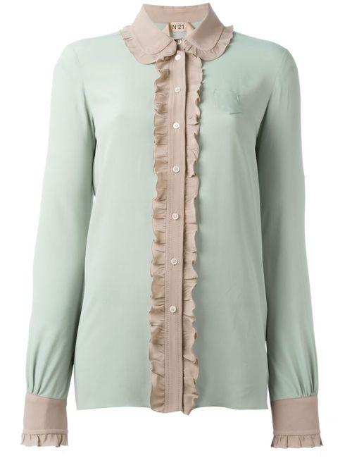 No21 | Женская Зелёная Рубашка С Контрастной Отделкой