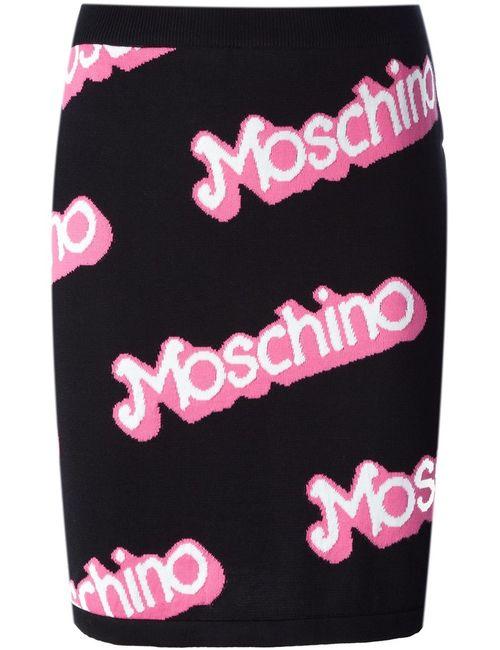 Moschino | Женская Розовая Юбка С Простроченным Логотипом