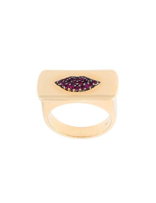 ALISON LOU   Женское Серебристый Ruby Lips Bar Ring