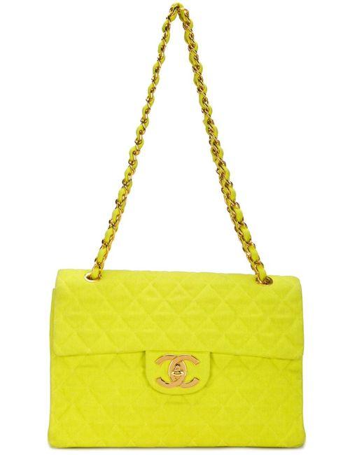 Chanel Vintage | Женская Зелёная Сумка На Плечо С Логотипом