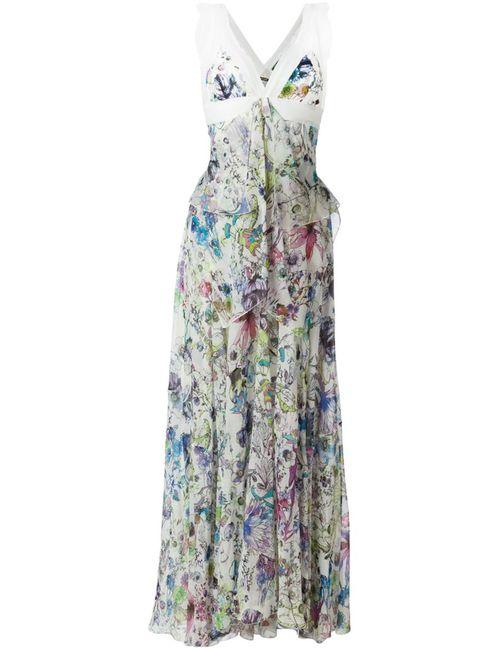 Roberto Cavalli | Женское Белое Длинное Платье С Цветочным Принтом