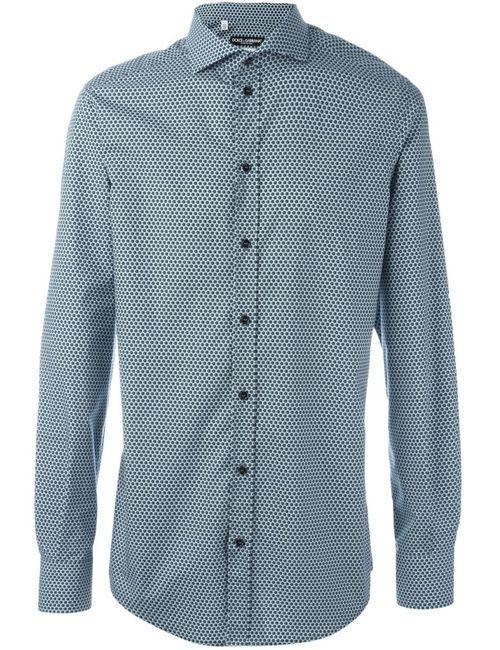 Dolce & Gabbana   Мужская Зелёная Рубашка С Мелким Узором