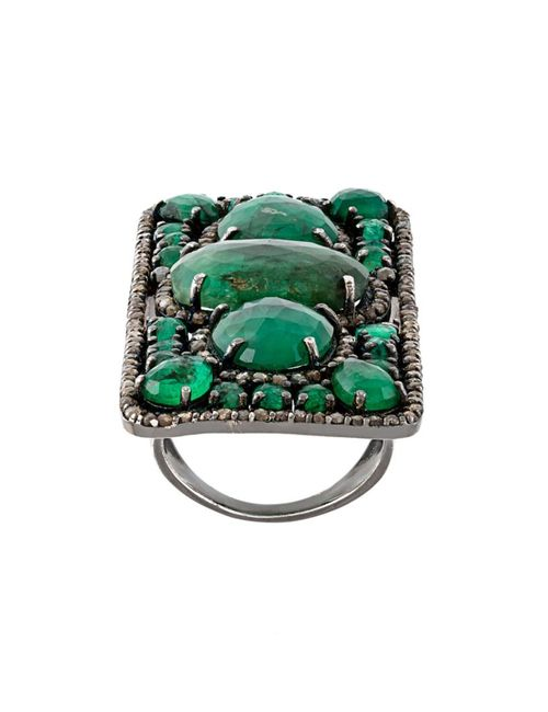 LOREE RODKIN | Женское Зелёный Rectangular Diamond And Emerald Ring
