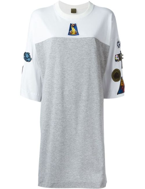 MR & MRS Italy   Женское Серый Patch Oversized T-Shirt