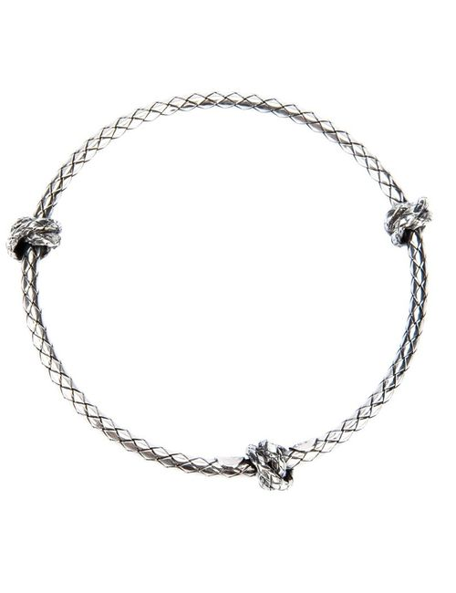 Bottega Veneta   Женское Серебристый Woven Knot Detail Bracelet