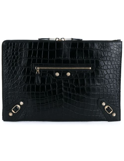 Balenciaga | Женское Чёрный Embossed Crocodile Effect Clutch