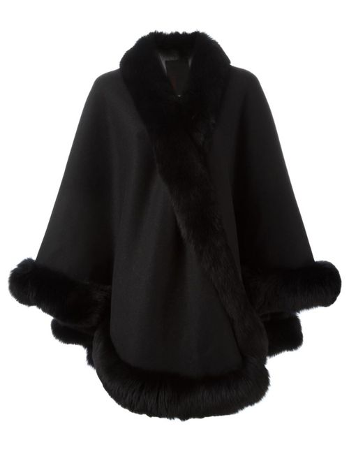 Liska   Женское Чёрный Fox Fur Trim Cape