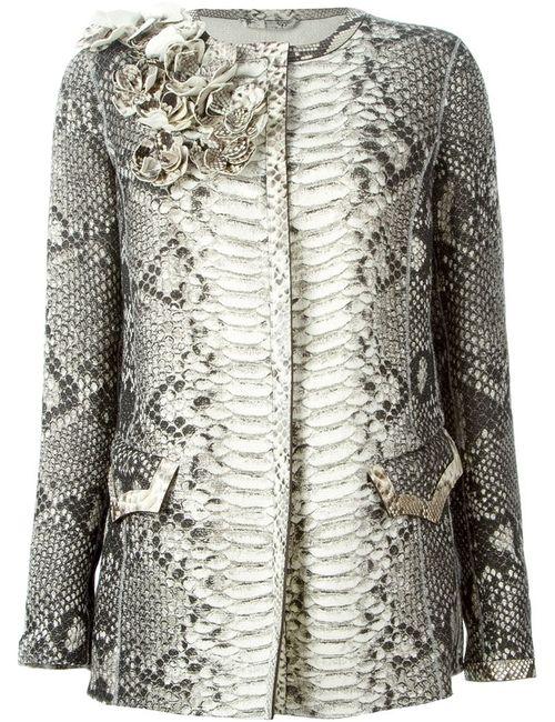 Ermanno Scervino | Женское Серый Python Skin Flower Appliqué Coat