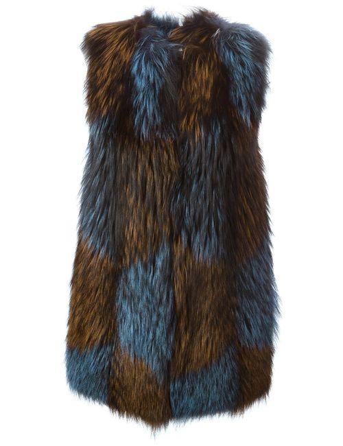 Blancha | Женское Коричневый Fox And Goat Fur Gilet