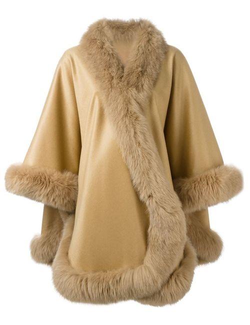 Liska | Женское Nude & Neutrals Fox Fur Trim Cape
