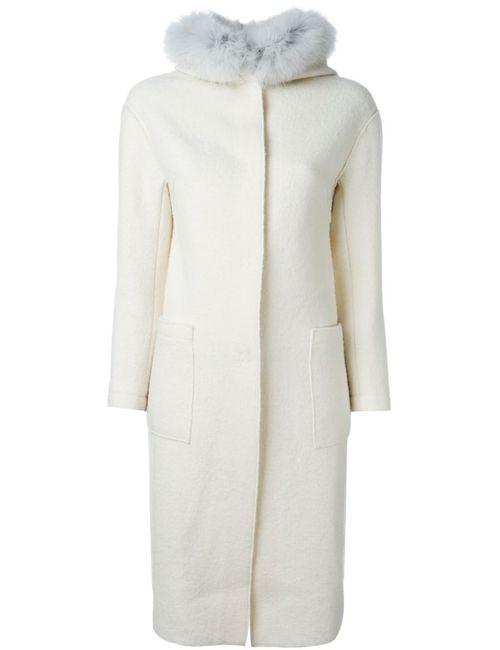 Eleventy | Женское Белый Fox Fur Trim Coat