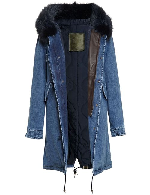 MR & MRS Italy | Женское Синий Long Fur Trimmed Denim Parka