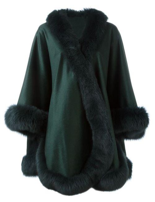 Liska | Женское Зелёный Fox Fur Trim Cape