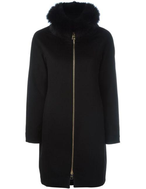 Herno | Женское Чёрный Detachable Fox Fur Collar Coat