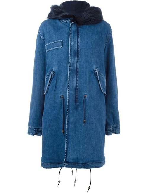 MR & MRS Italy | Женское Синий Fox Fur Trim Denim Parka