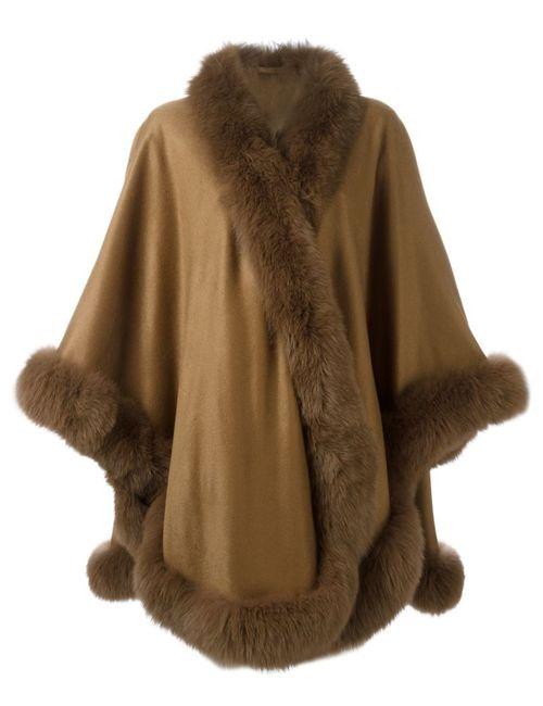Liska | Женское Коричневый Fox Fur Trim Cape Coat