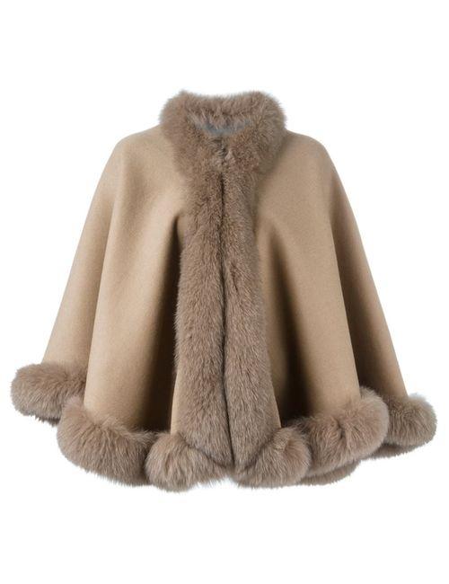 Liska   Женское Nude & Neutrals Fox Fur Trim Cape