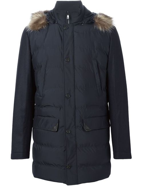 Corneliani | Мужское Синий Fur Trimmed Parka Coat
