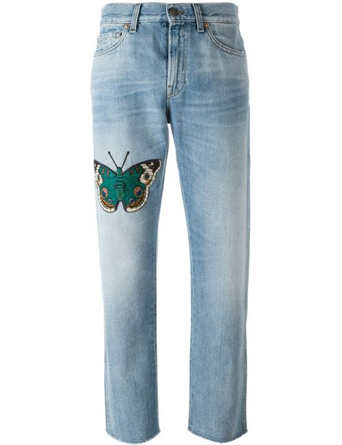 Gucci | Женское Синий Embroidered Butterfly Boyfriend Jeans