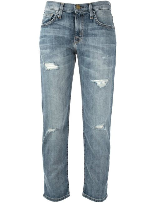 Current/Elliott | Женское Синий Cropped Distressed Jeans