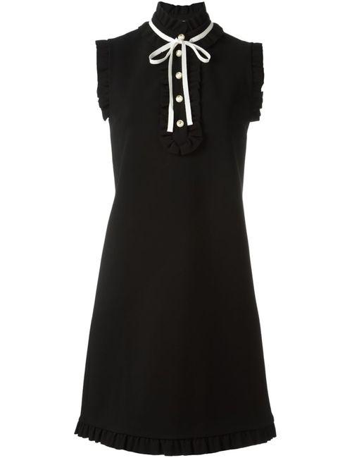 Gucci | Женское Черный Frilled Funnel Neck Dress