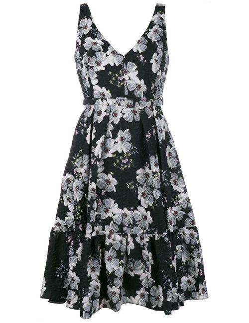 Erdem | Женское Чёрное Платье С Цветочным Узором