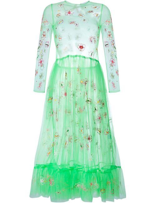 Molly Goddard   Женское Зелёный Embroidered Tulle Dress
