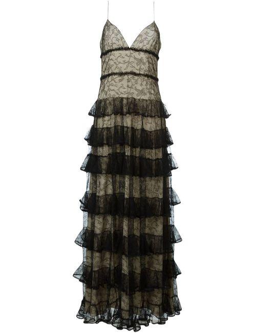 Alexander McQueen | Женское Чёрный Ruffled Long Evening Dress