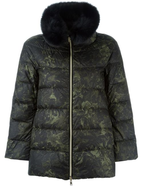 Herno   Женское Зелёный Fox Fur Trim Reversible Padded Jacket