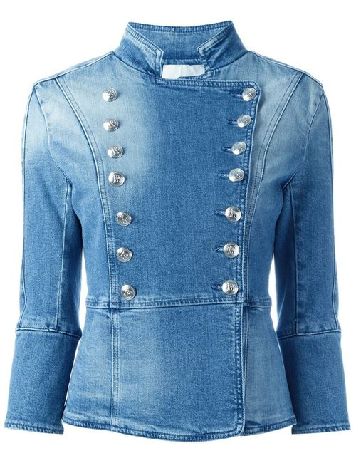 Pierre Balmain | Женское Синий Military Style Denim Jacket