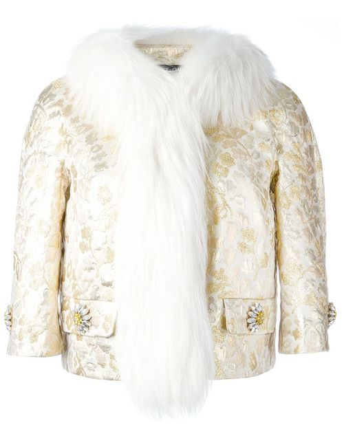 Dolce & Gabbana | Женское Nude & Neutrals Fox Fur Collar Brocade Jacket