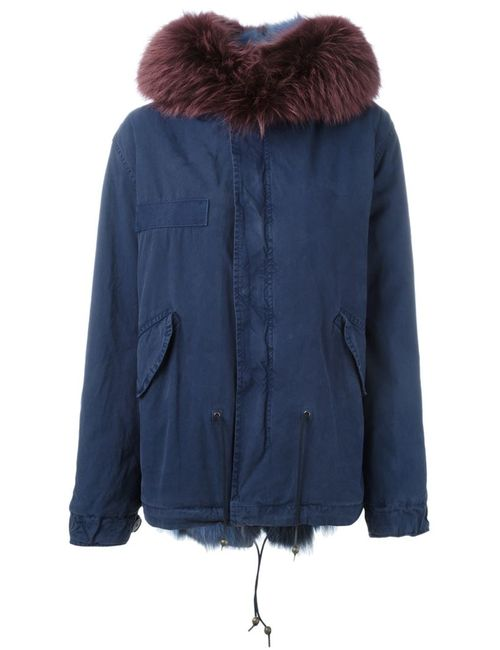 MR & MRS Italy | Женское Синий Fox And Raccoon Fur Lined Jacket