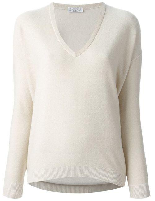 Brunello Cucinelli | Женское Nude & Neutrals V-Neck Sweater