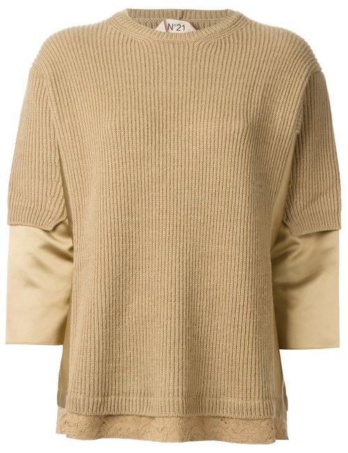 No21 | Женское Nude & Neutrals Ribbed Panelled Sweater