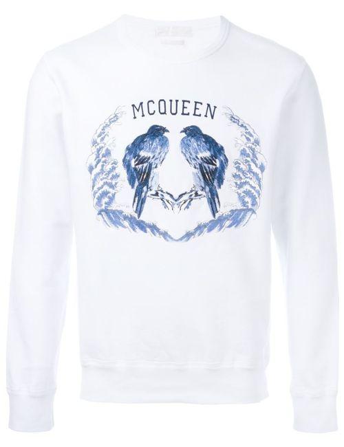 Alexander McQueen | Мужская Белая Толстовка С Вышивкой Птиц