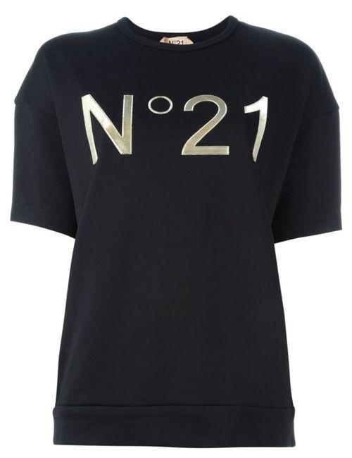 No21 | Женская Черный Футболка С Принтом Логотипа