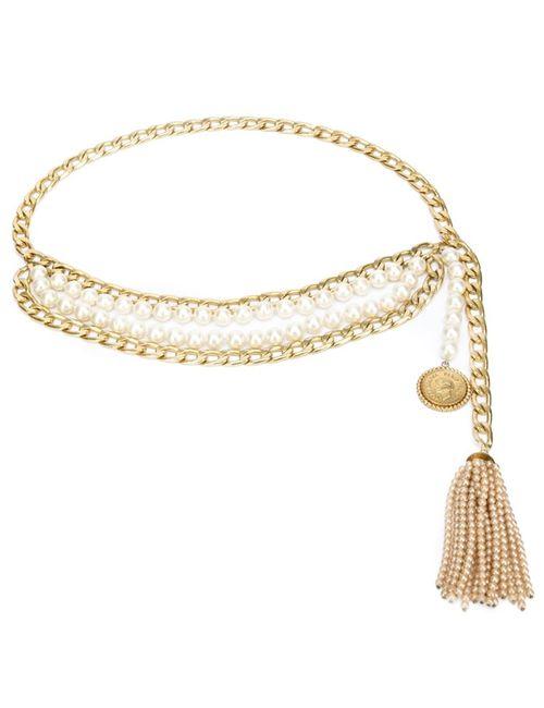 Chanel Vintage   Женский Серебристый Цепочный Ремень С Кисточкой