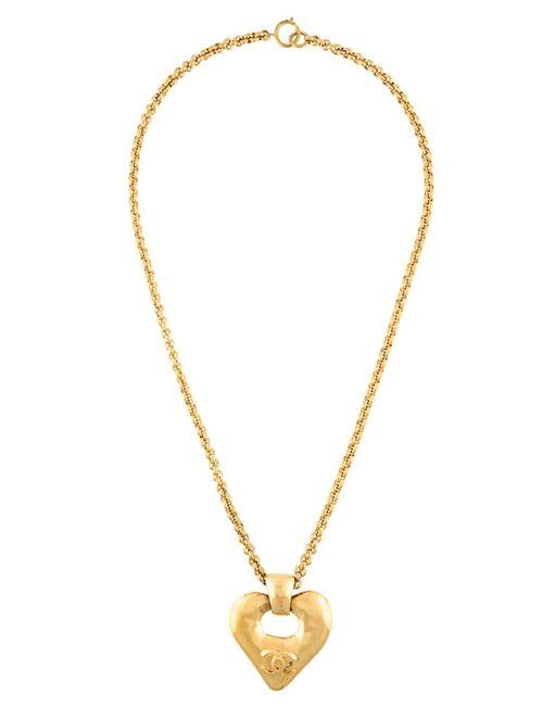 Chanel Vintage | Женское Серебристое Длинное Колье С Подвеской-Сердцем