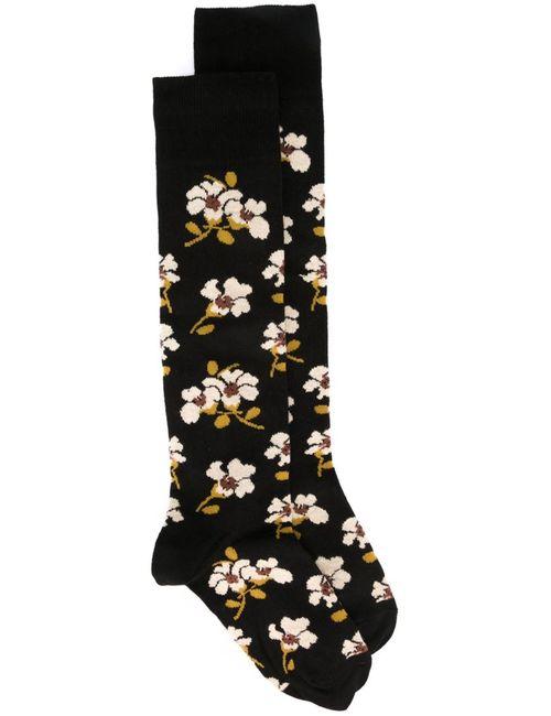 Marni | Женские Чёрные Жаккардовые Носки С Цветочным Узором