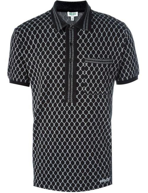Kenzo | Мужская Чёрная Рубашка Поло С Геометрическим Рисунком