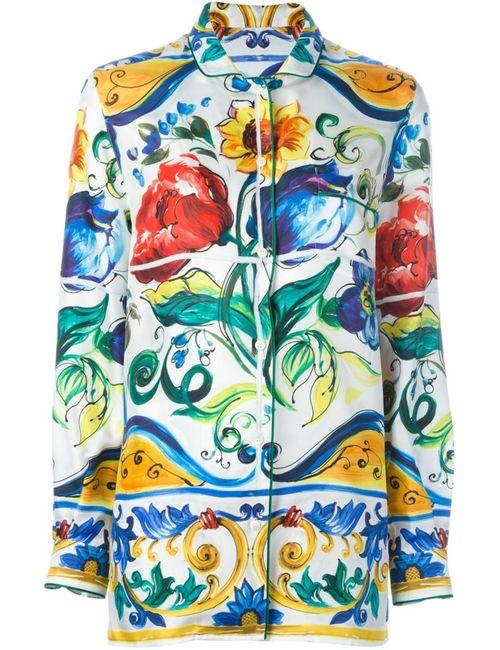 Dolce & Gabbana | Женская Многоцветная Рубашка С Принтом Majolica